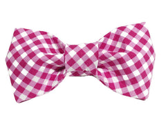 Pink Gingham Dog Bow Tie - 9000