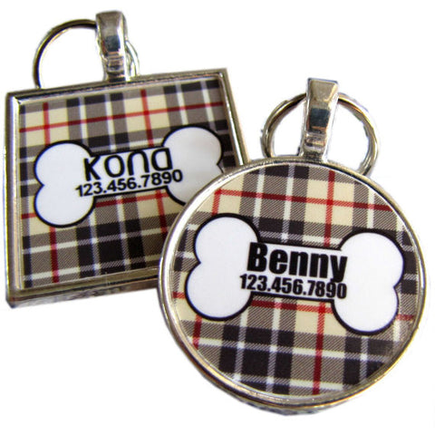 Black, Red and Tan Plaid Dog License Tag