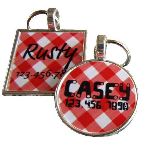 Retro Red Picnic Plaid Dog License Tag