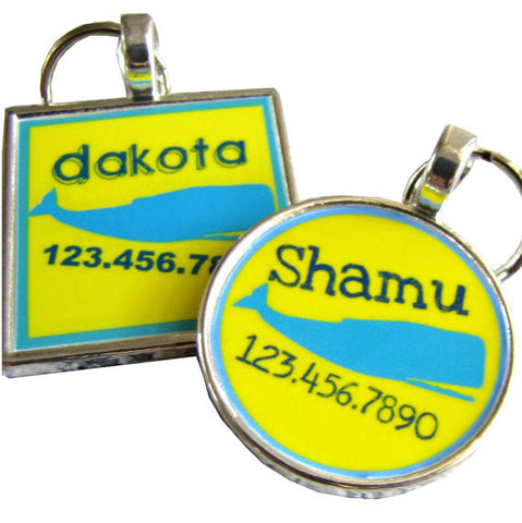 Yellow and Blue Whale Dog License Tag