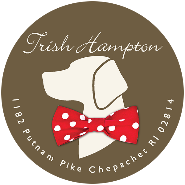 Trish Hampton circular logo with dog bowtie