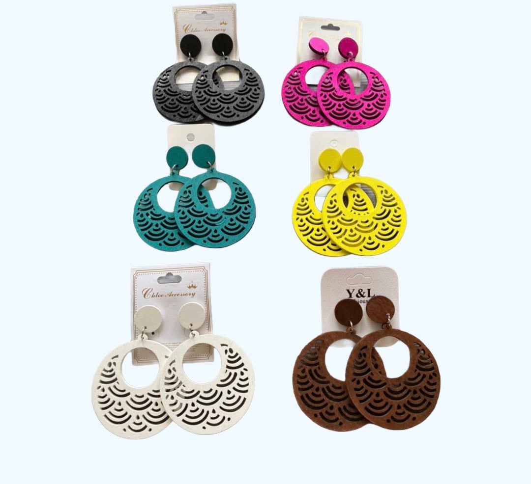 "Circle pattern ""1"" earrings"
