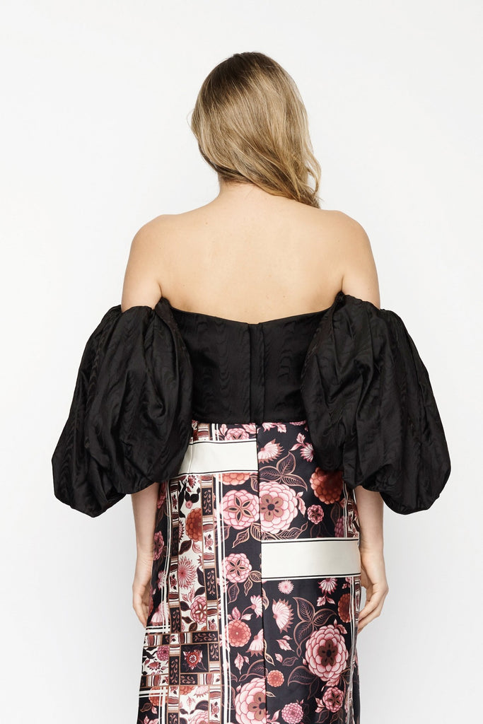 Black Puff Sleeve Bustier