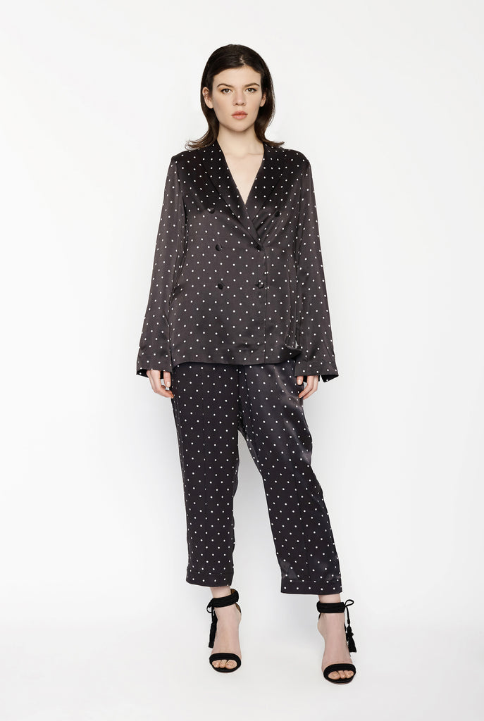 Asceno - Tailor Trouser in Mini Polka Dot