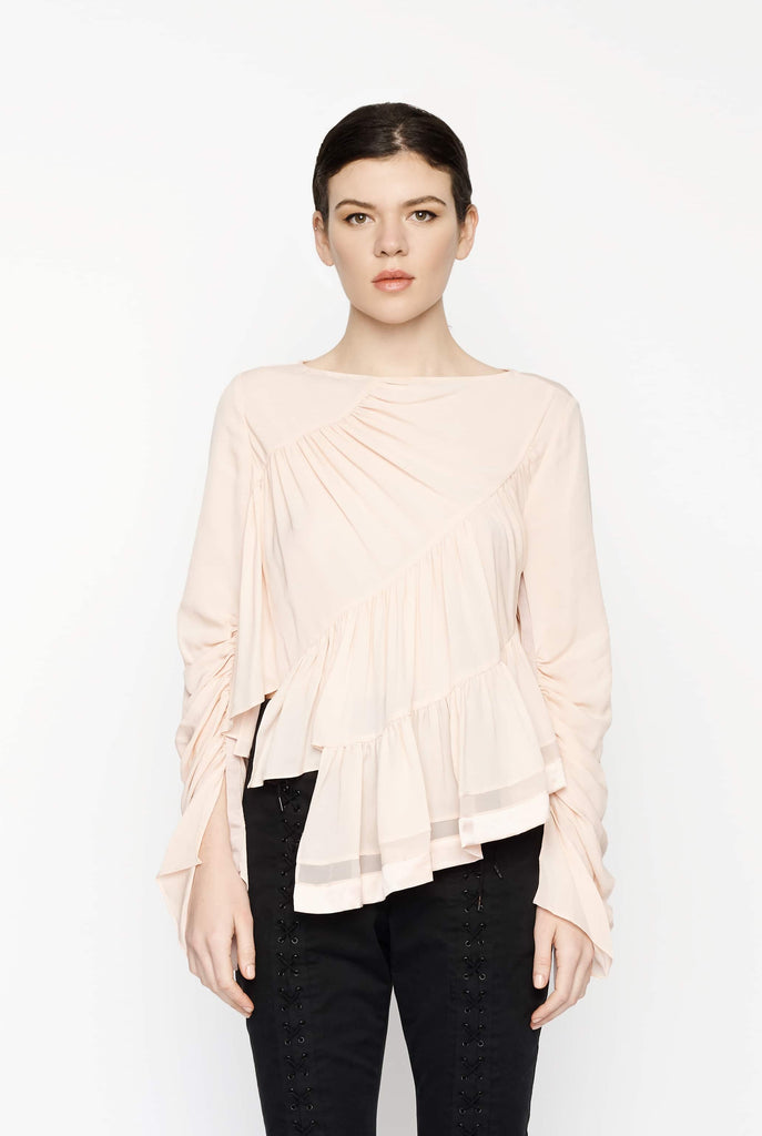Big Fashion Sale 3.1 Phillip Lim Long Sleeve Ruffle Layer Blouse Blush