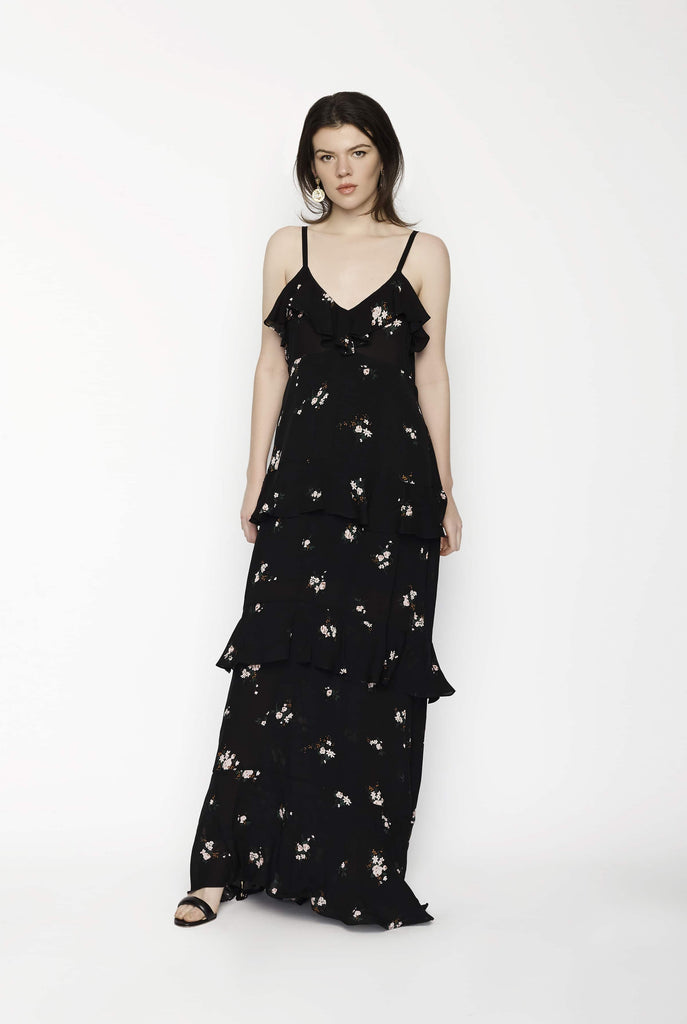 Big Fashion Sale A.L.C Tiered Ruffle Maxi Dress Black Floral Print