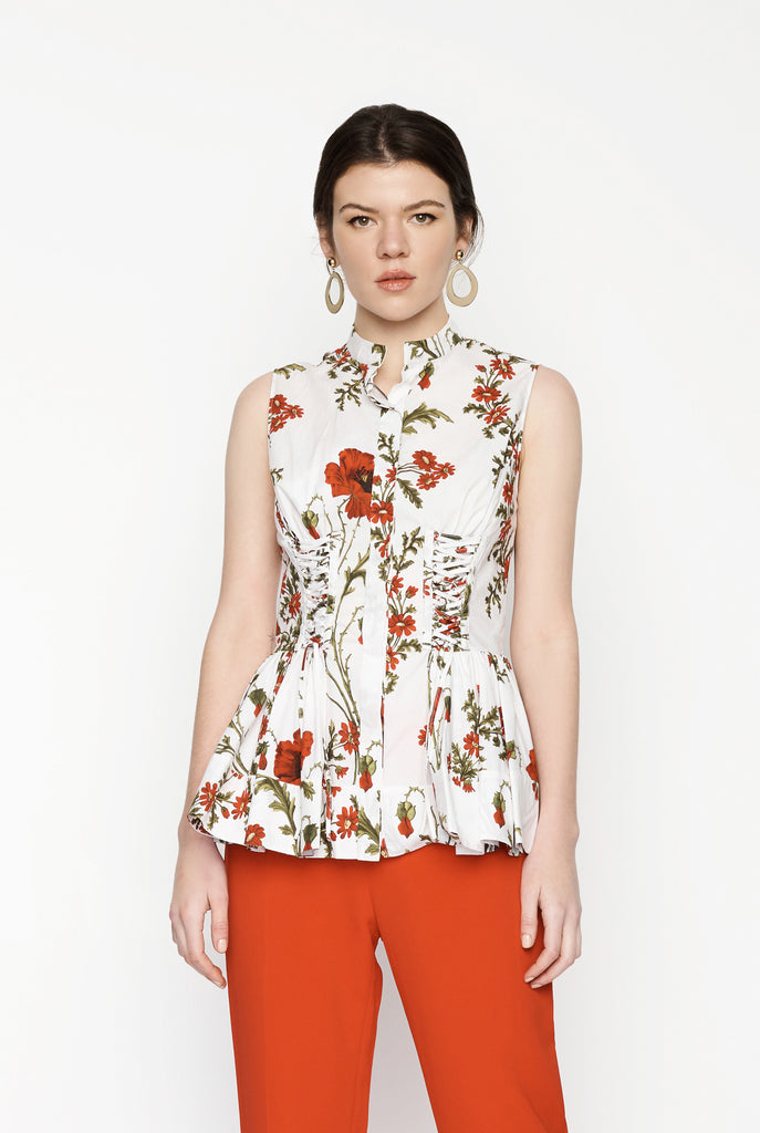Big Fashion Sale Alexander McQueen Poppyfield Corset Sleeveless Shirt Ivory