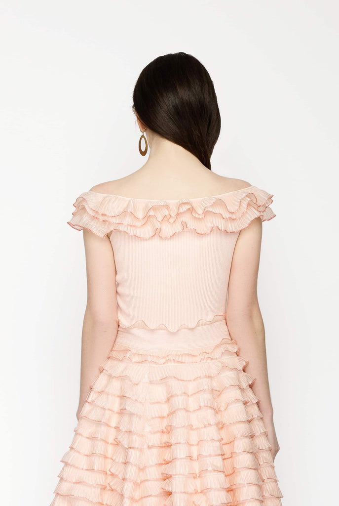 Big Fashion Sale Alexander McQueen Ruffle Trim off-the-Shoulder Top