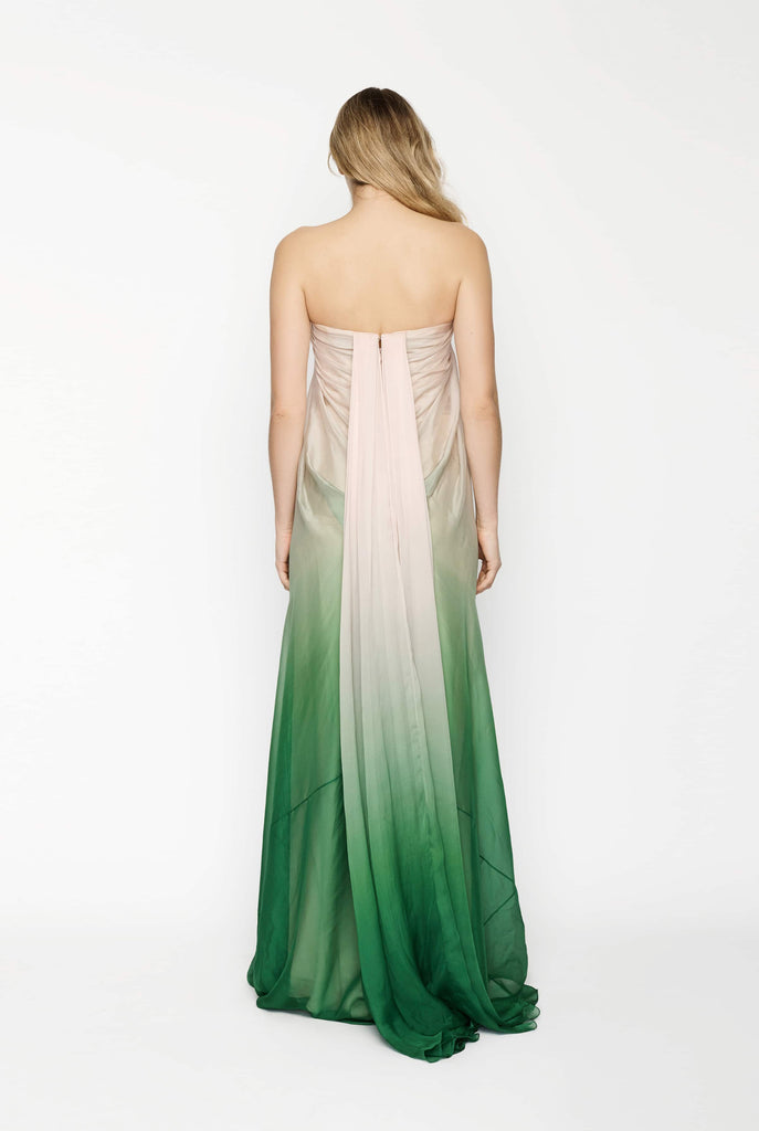 Big Fashion Sale Alexander McQueen Strapless Pink Green Ombre Gown