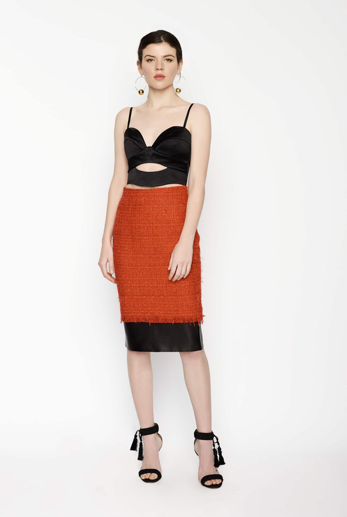 Big Fashion Sale Alexander McQueen Tweed Skirt With Leather Trim
