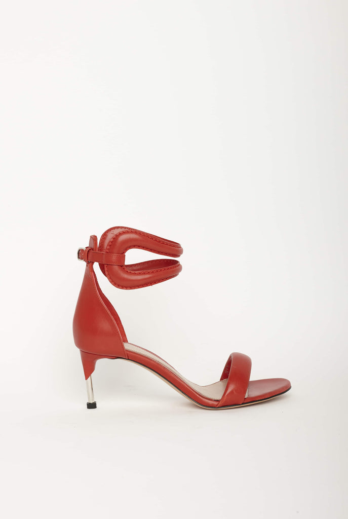 Big Fashion Sale Alexander McQueen  Leather Sandal Goya Calf Silver Red