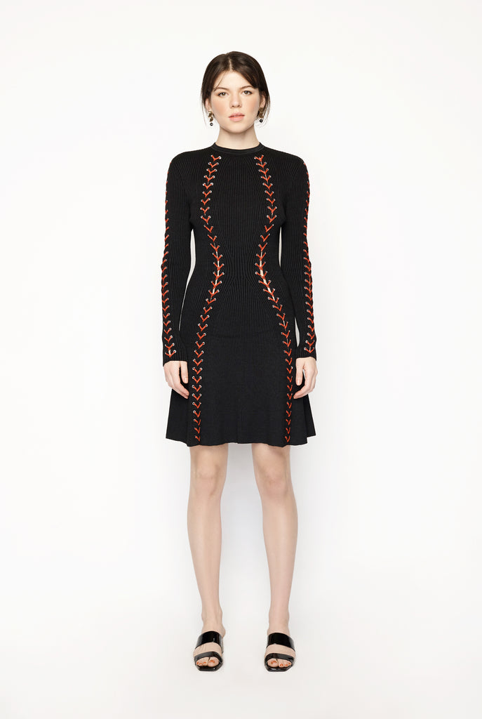 Boulce Knit Mini Dress with Leather Lacing
