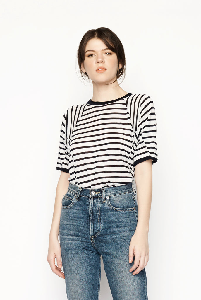 T by Alexander Wang - Wang Wash And Go Navy Stripe Top