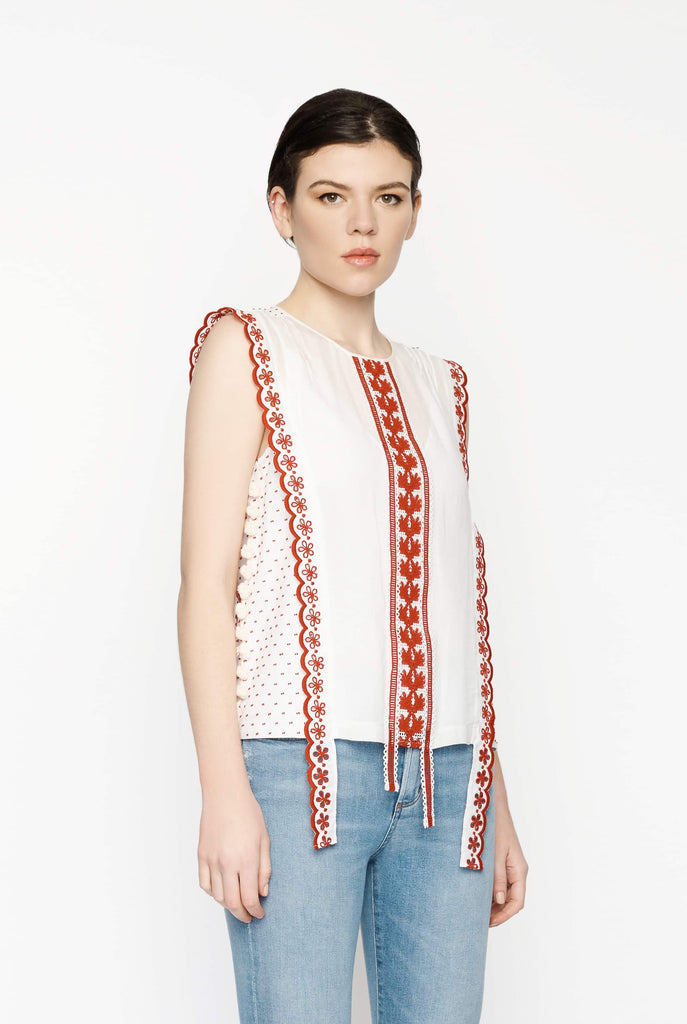 Big Fashion Sale Altuzarra Alma Top White and Red Trim