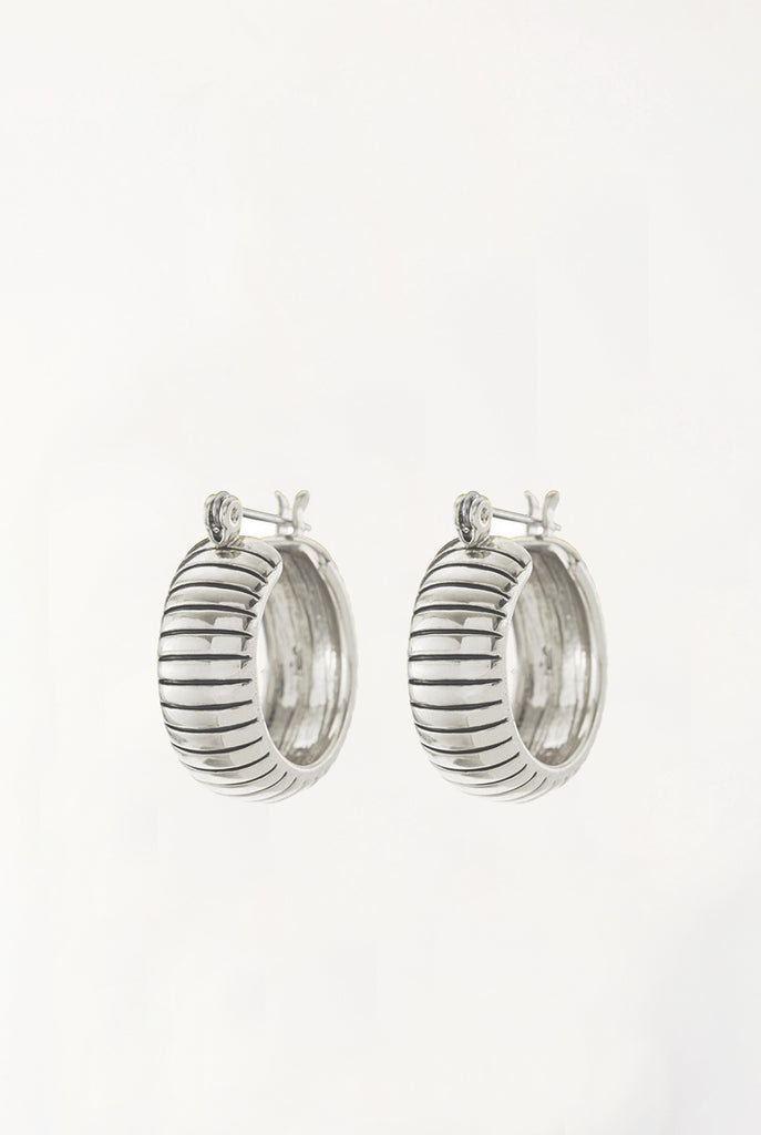 Baby Snake Chain Hoops - Silver