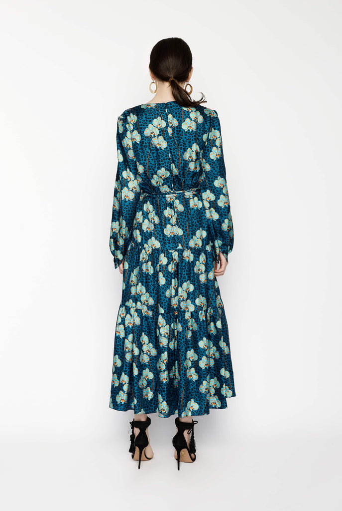 Big Fashion Sale Borgo De Nor Long Sleeve Blue Floral Maxi Dress