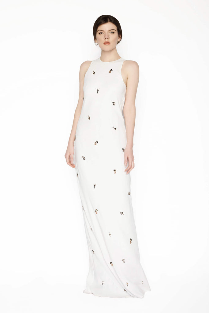 Big Fashion Sale By Marlene Birger Saicala embellished satin maxi dress