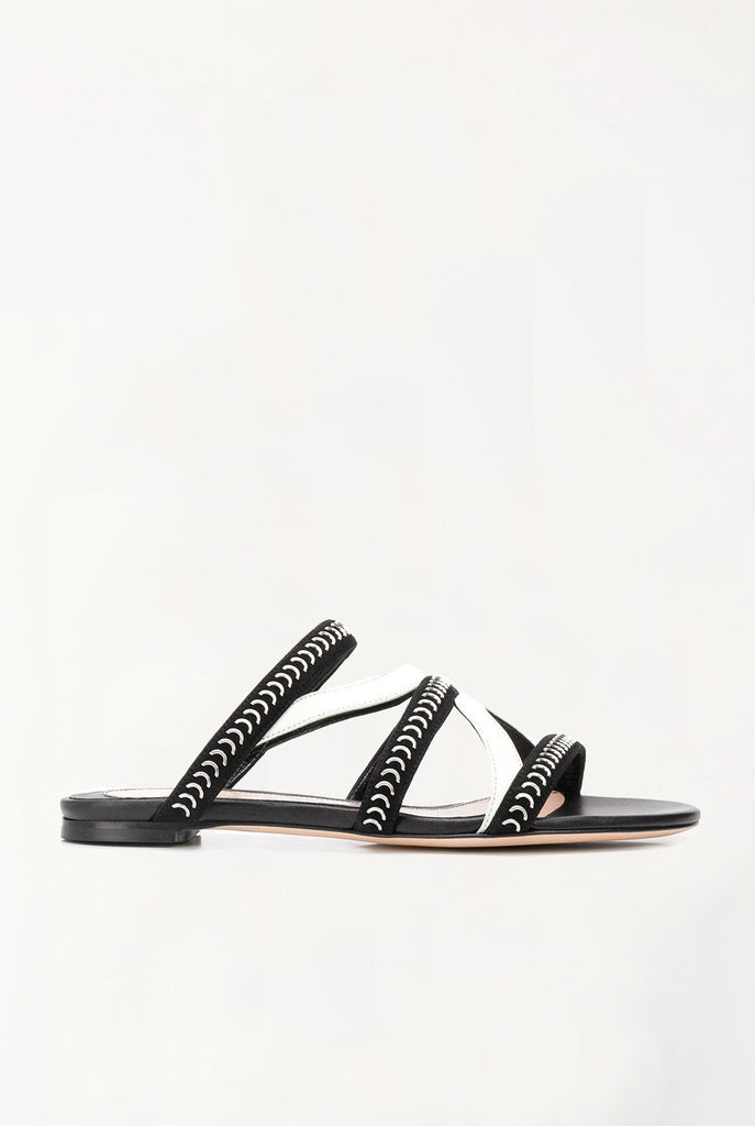 Black & White Caged Flat Sandals