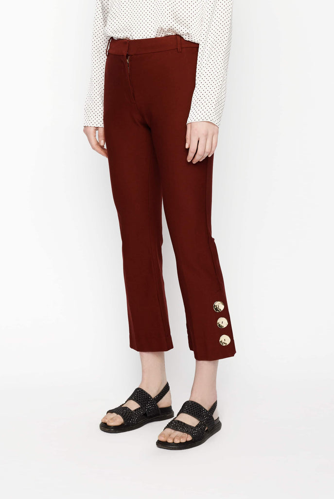Big Fashion Sale Derek Lam 10 Crosby Cropped Flare Trouser Burgundy