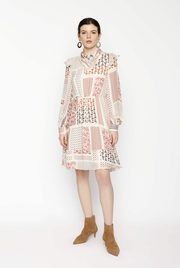 Big Fashion Sale Derek Lam 10 Crosby Long Sleeve Scarf Midi Dress in Ivory Multi