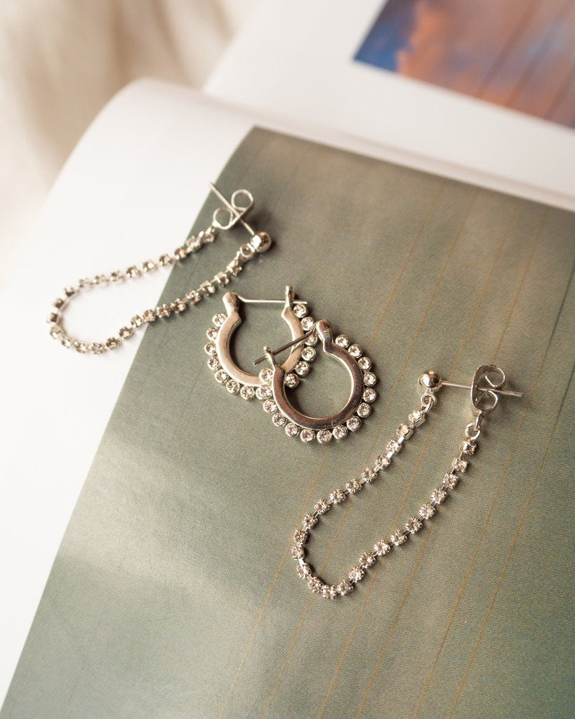The Diamonte Hoops and Chain Set - Gold