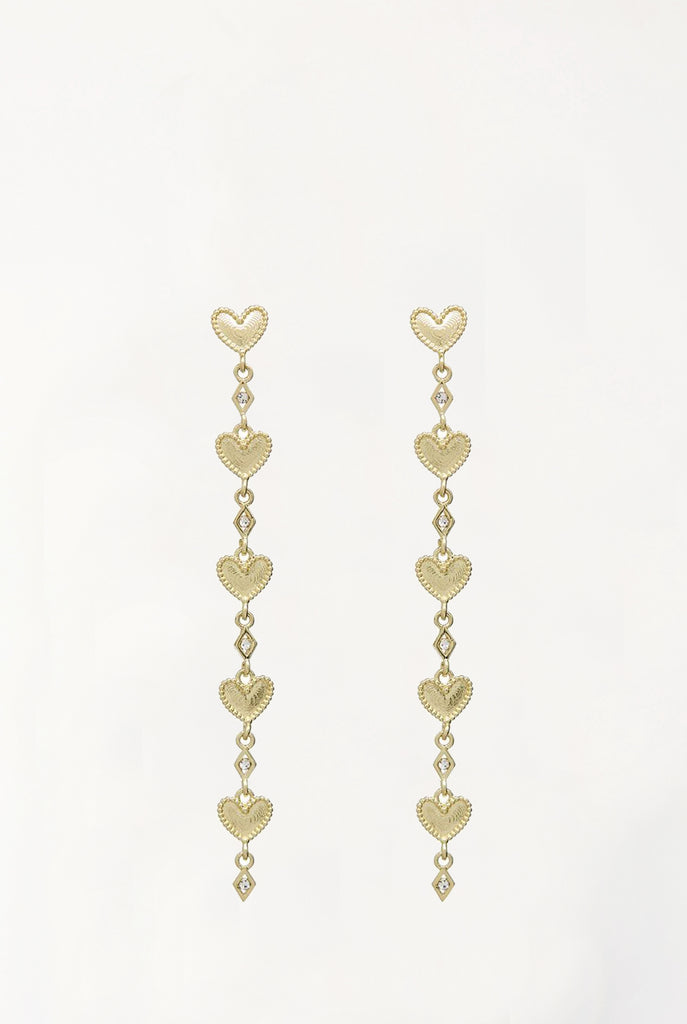The Dotted Heart Drop Studs - Gold