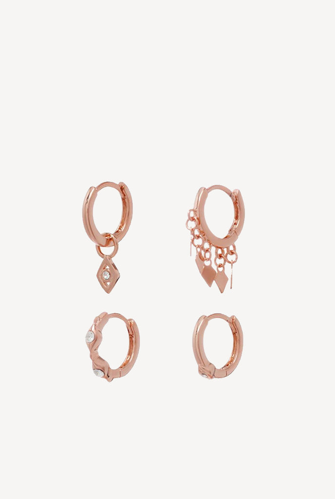 Evil Eye Hoop Huggies Rose Gold