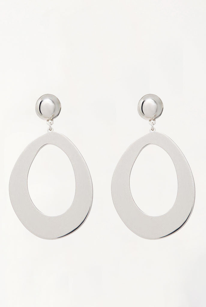 Elliptical Statement Hoops - Silver