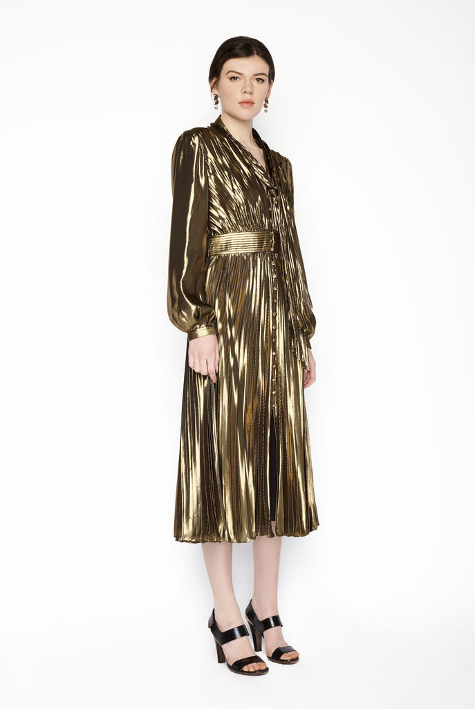 Equipment Femme - Macin Dress Metallic Gold