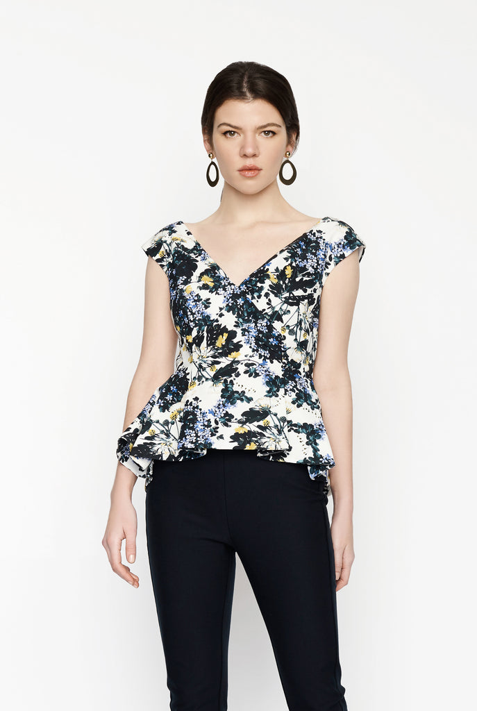 Big Fashion Sale Erdem Jio Peplum Floral Wrap Top