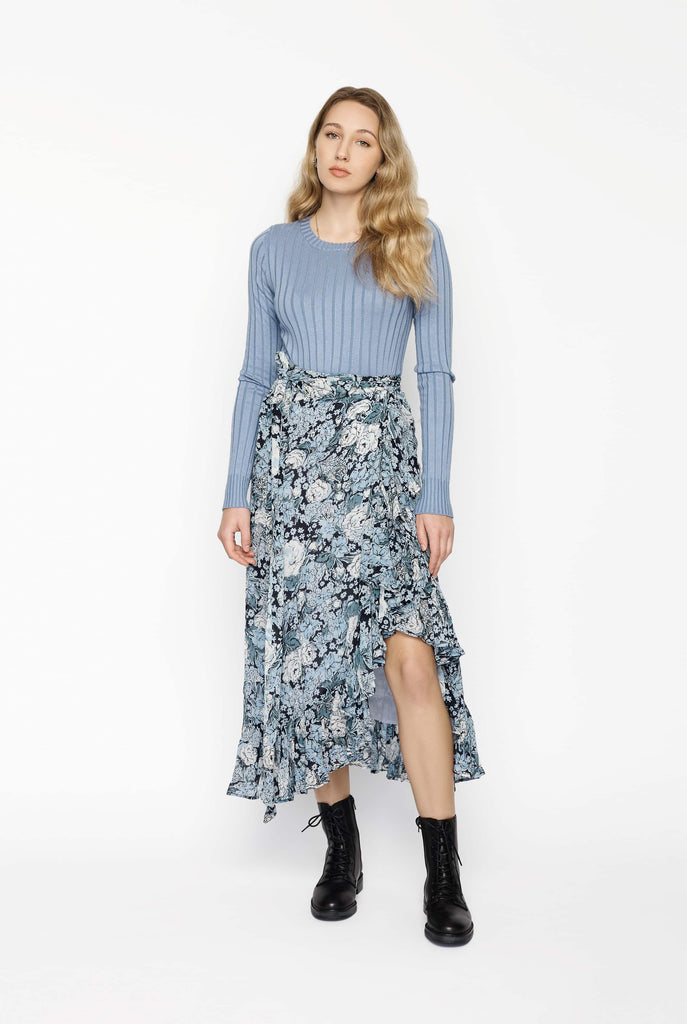 Big Fashion Sale Ganni Elm Georgette Wrap Skirt in Heather