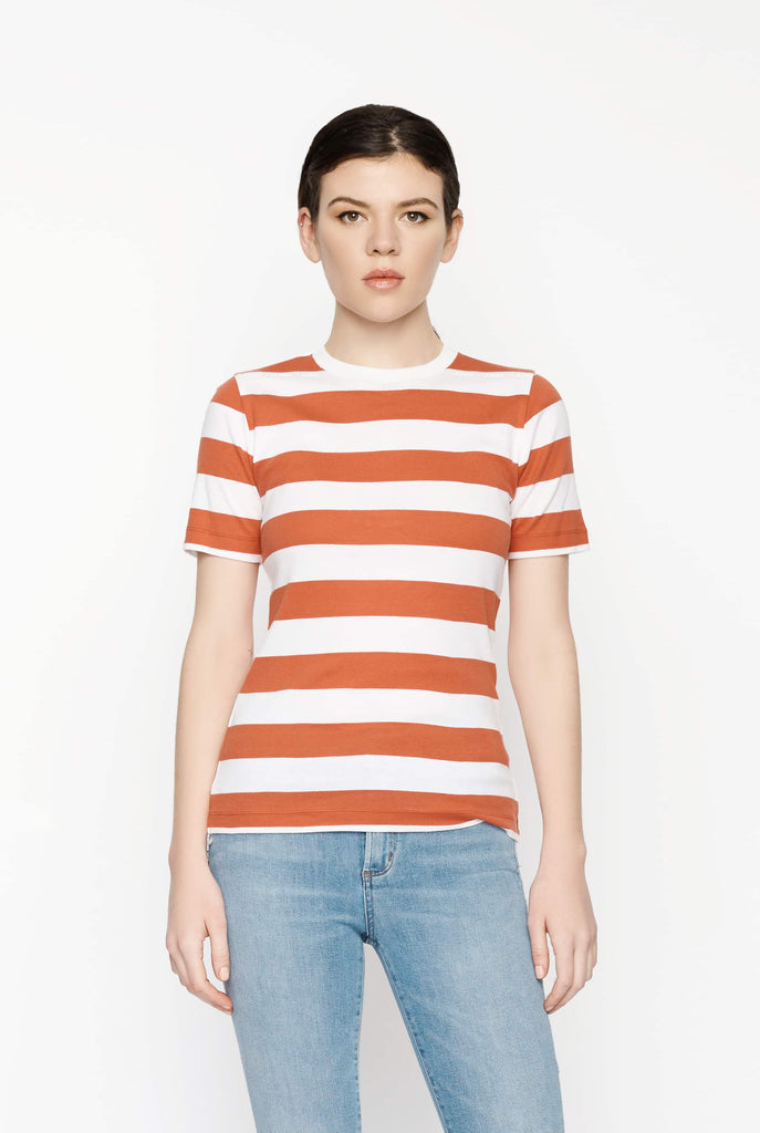 Big Fashion Sale Ganni Everman T-Shirt in Baked Apple Stripe