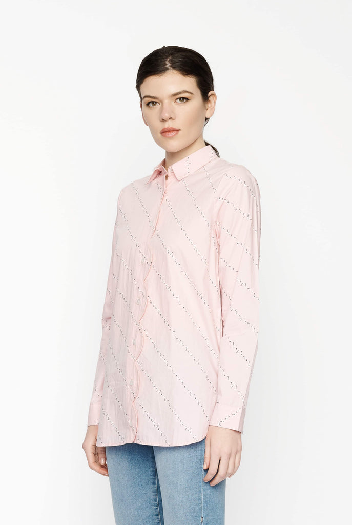 Big Fashion Sale Ganni Printed Poplin Shirt in Silver Pink