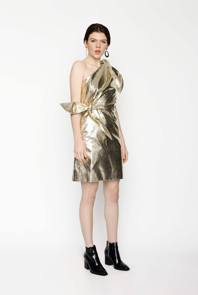 Big Fashion Sale Gary Bigeni Gold Shiny One Shoulder Dress