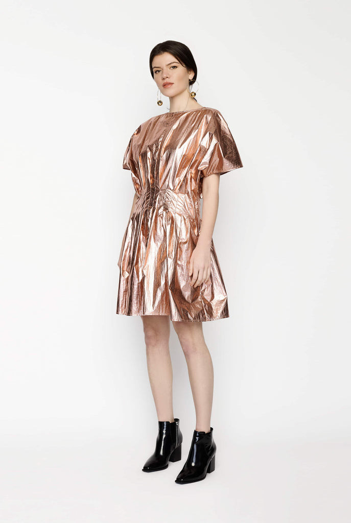 Big Fashion Sale Gary Bigeni Pink Metallic Pleat Dress