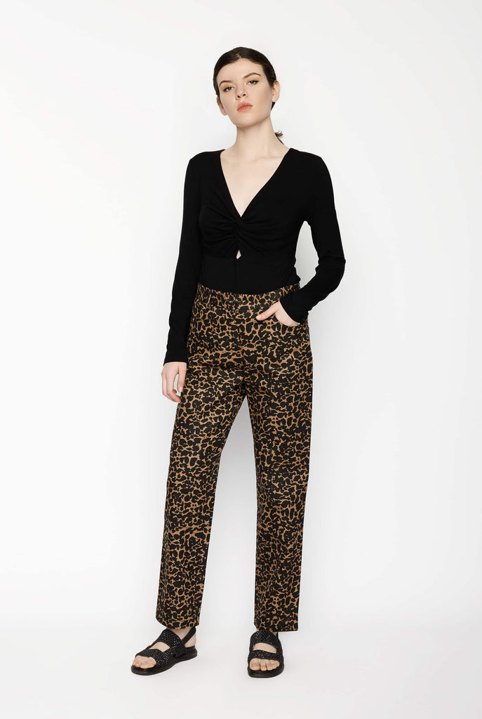 Big Fashion Sale Gary Bigeni Straight Leg Leopard Print Pant