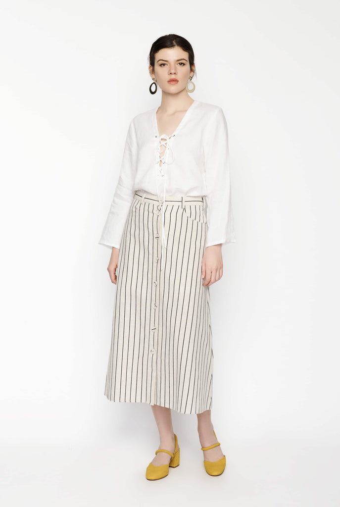 Big Fashion Sale Gary Bigeni Stripe Midi Skirt Pockets