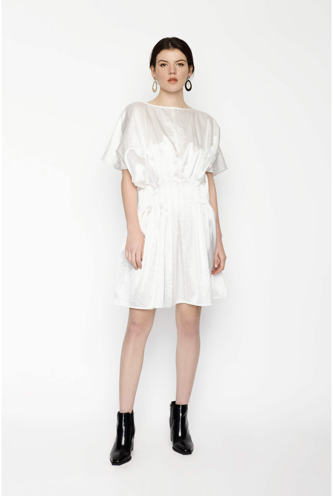 Big Fashion Sale Gary Bigeni White Satin Cotton Pleat Dress