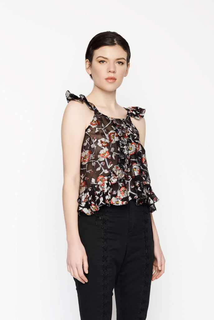 Big Fashion Sale Isabel Marant Jaquard Ruffled Floral Top