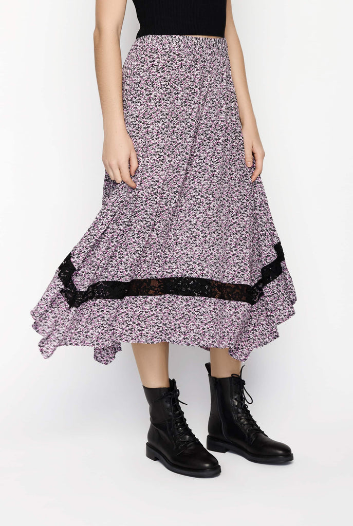 Big Fashion Sale JUST Aida Skirt in Purple Floral Print