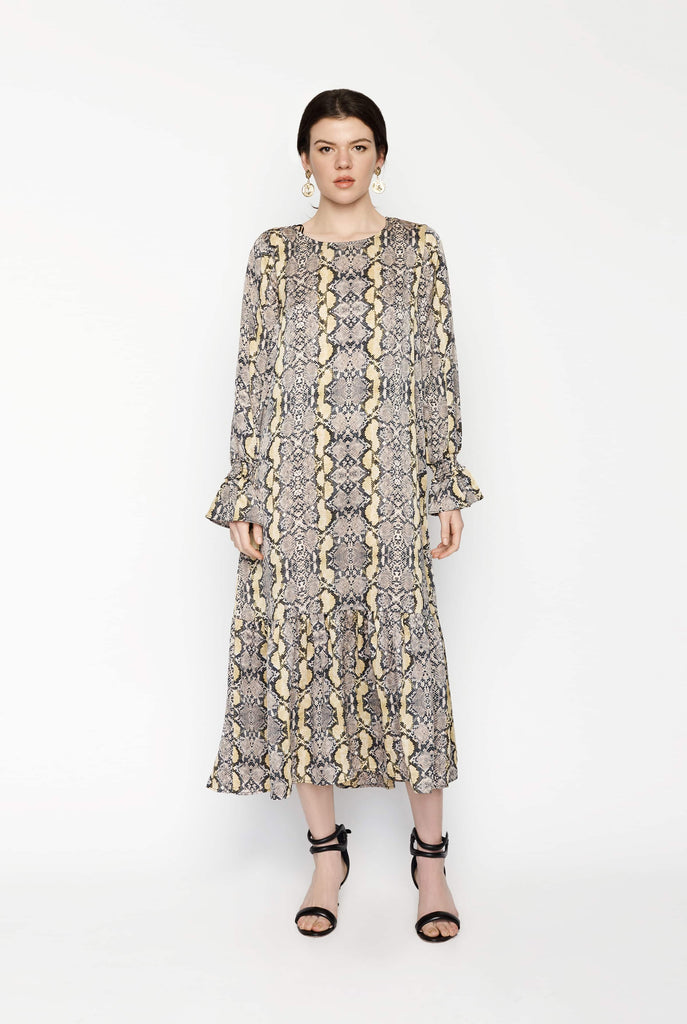 Big Fashion Sale JUST Naomi Maxi Dress in Golden Sun Snake