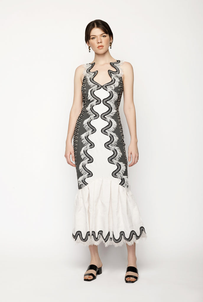 Emroidered Monchrome Gown