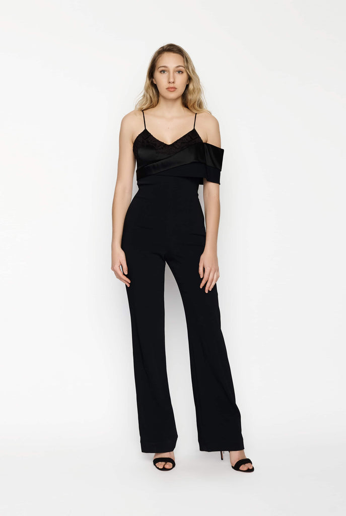 Big Fashion Sale Jonathan Simkhai One Sleeve Bootleg Black Jumpsuit