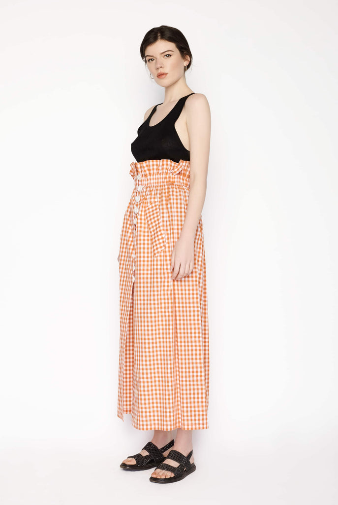 Big Fashion Sale Karla Spetic Mary Orange Gingham Maxi Button Skirt
