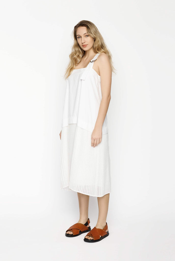 Big Fashion Sale Kenzo White Dress Drop Waist and Pleats