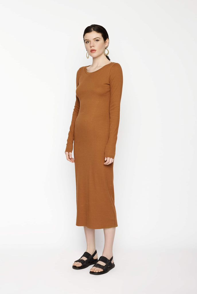Big Fashion Sale Lois Hazel Long Sleeved Ribbed Dress Terracotta