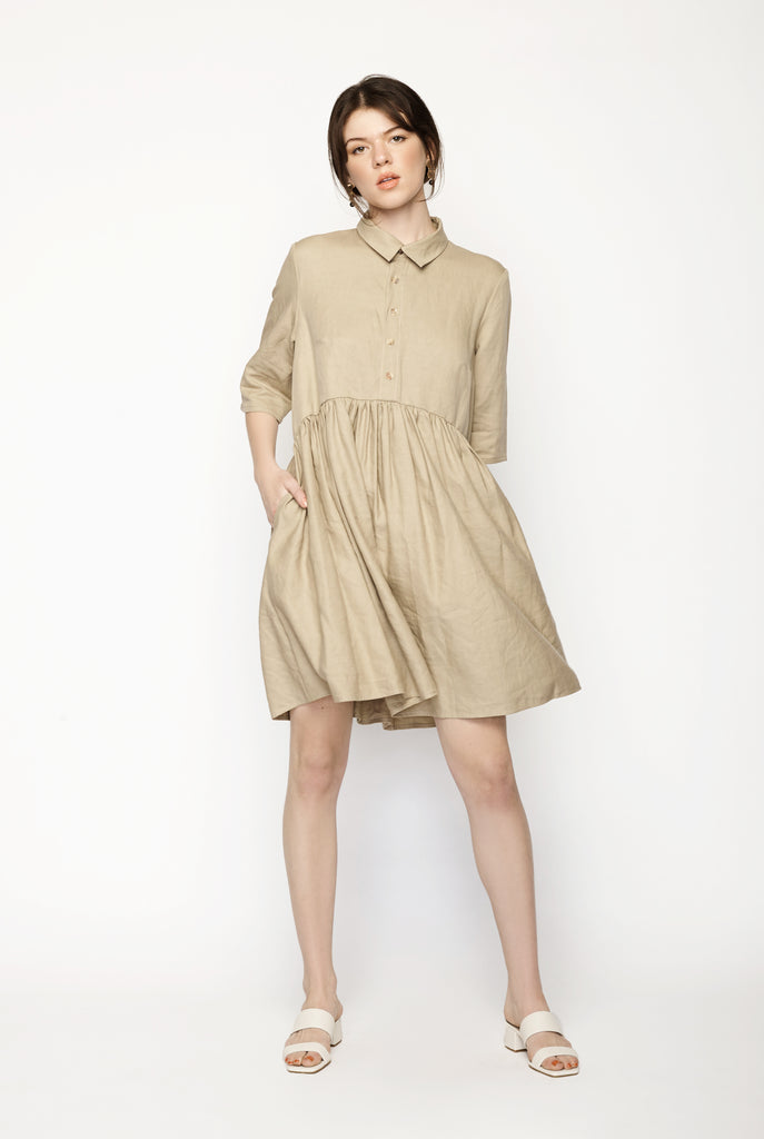Rise Shirt Dress Tan