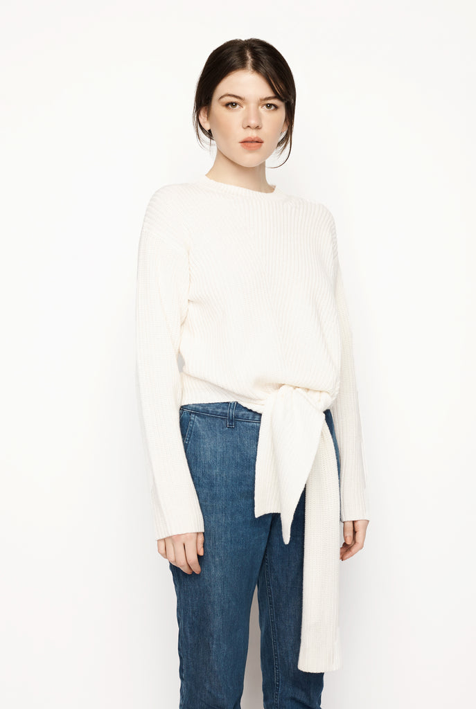 Lou Lou Studio - Trimelone Tie Front Rib Sweater Ivory