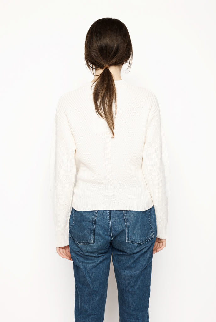 Trimelone Tie Front Rib Sweater Ivory