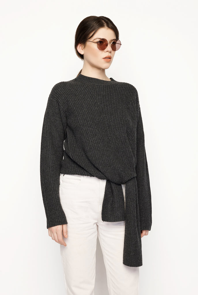 Trimelone Tie Front Rib Sweater Anthracite
